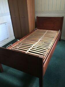 Electric Single Bed Nursing Home Elderly Disability Wood Frame Adjustable Modern