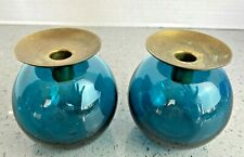 Glass Ball Teal Blue Candlestick Holders Pair Mid Century Modern DD91