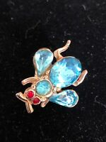 Vintage Insect Brooch / Pin /Bee Fly Teal Blue Rhinestones