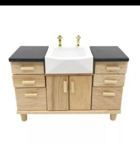 Miniature Dolls House Accessories Timber Bathroom Vanity with Sink 1:12th scale