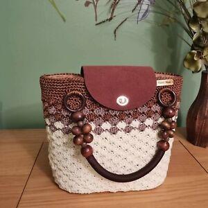 Ladies / Womens Hand Made Crochet  Hand Bag - Beige & Brown