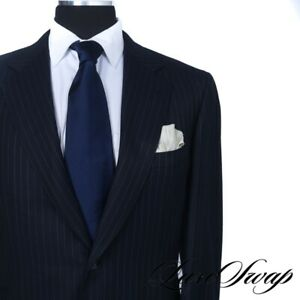 Brioni Made in Italy Black Label Nomentano Navy Dotted Pinstripe 2B 2V Suit 42