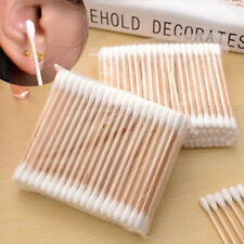 100Pcs Double Head Disposable Makeup Cotton Swab Cotton Buds Daily Cleaning Too^