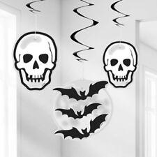 HALLOWEEN SKULL & BATS HANGING SWIRL SWIRLS DECORATION!