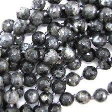 "10mm faceted grey labradorite larvikite round beads 7"" strand"