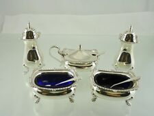 GADROON & SHELL 8 PIECE CONDIMENT SET w GLASS LINERS BY BIRKS 1963