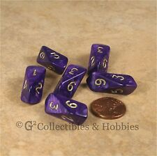NEW Set of 6 Crystal Caste Pearl Purple Six Sided Dice RPG D&D Game D6