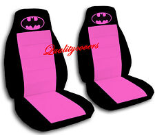 Batman Car Seat Covers in Hot Pink & Black Velour Front Set