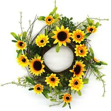 Indoor or Outdoor Display Country Artificial Sunflower and Twig Wreath, 14-Inch