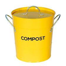 Jaune Compost Caddy Avec Bac Intérieur-Cuisine composteur de-Métal Seau
