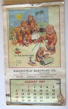 Vintage Lawson Wood- Bakersfield Hardware Calendar 1952 8 1/2 x 14 1/2