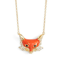 Kate Spade Into The Wood Red Enamel Fox Gold Tone Pendant Necklace