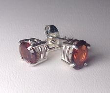 Red Pyrope GARNET 7x5mm Oval Gemstones .925 Sterling Silver Stud Earrings