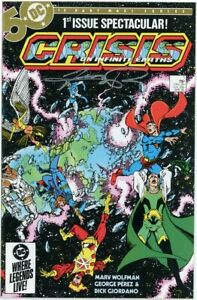 CRISIS ON INFINITE EARTHS 1 DC COMIC MARV WOLFMAN SIGNED GEORGE PEREZ 1985 FN/VF