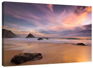 Sandy Sea Shore Beach Sunset Canvas Wall Art Picture Print