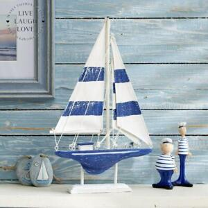 Painted Blue and White Shelf Sitter Racing Yacht Boat