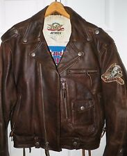 MEN'S AVIREX BROWN LEATHER ZIP FRONT BOMBER MOTORCYCLE JACKET SZ S USED