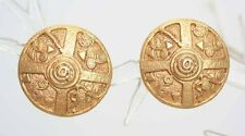 Casual Corner Ancient Style Gold-tone Clip Earrings 1980s vintage