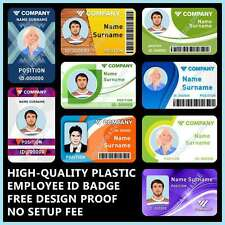 CUSTOM, PVC PLASTIC EMPLOYEE ID CARD BADGE WITH CONTACT OR CONTACTLESS CHIP