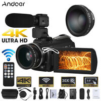 Andoer WiFi 4K 30X ZOOM Touchscreen Microphone Digital Video Camera DV Camcorder