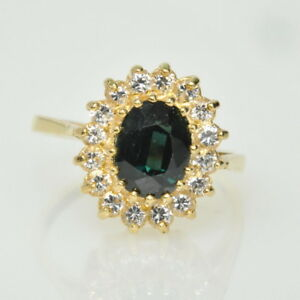 Ladies 14k Yellow Gold 1 Green Sapphire & White Topaz Halo Cluster Estate Ring
