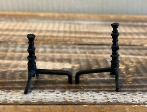 Vintage Miniature Dollhouse 1:12 Antique Black Iron Metal Fireplace Andirons