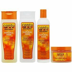 Cantu Cleansing Shampoo + Conditioner + Curl Activator + Define Custard Set