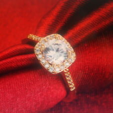Round Cut White CZ Ring 10KT Yellow Gold Filled Size L - O  - Q IIn Gift Box