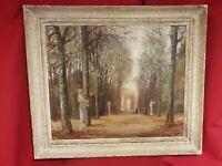 Ancienne peinture vue de parc, signée