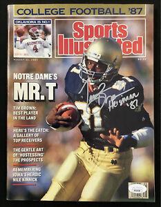 Tim Brown Signed Sports Illustrated 8/31/87 No Label Notre Dame Autograph JSA