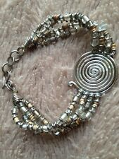 "Unusual 8"" BEADED BRACELET SPIRAL DISC Silvertone arty hippy folk"