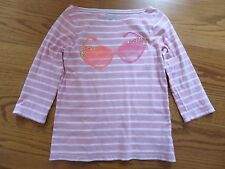 OshKosh Girls Pink White Sun Glasses Embellished 3/4 Sleeve Shirt Top Sz 8 VGUC