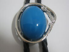 BOLO TIE #8911 - Turquoise Colored Stone in Silver Frame