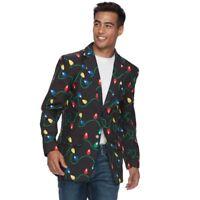 NWT Men's Christmas Blazer Choose Size Black Lights