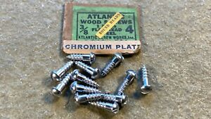 "Wood Screw #4 x 3/8"" Slotted Round Head Chrome Vintage Hardware"