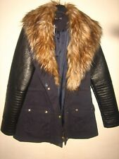 NEW WITH TAGS WOMENS FASHION BOX GEORGE FAUX FUR, LEATHER & CLOTH COAT SIZE 10