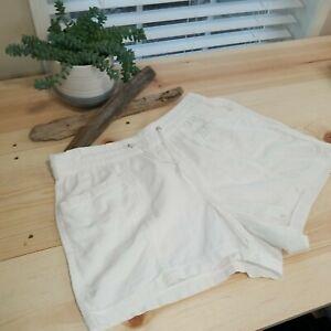 Gap Sz M Women's Linen Blend Drawstring Pockets Shorts