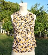 TORY BURCH MULTI COLOR SILK BUTTON FRONT SLEEVELESS CASUAL TOP Sz 4