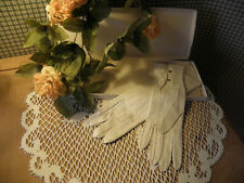 """Ladies Vintage Leather White Gloves with snaps """"something old""""-"""