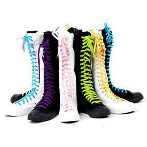 Buren EMO PUNK Women Girl Shoes Canvas Flat Tall Boots Zip  Knee High Sneaker