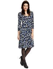 New M&S Blue & White Spotted Skater Dress Sz UK 8
