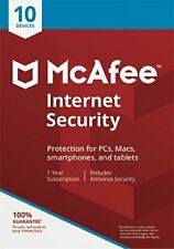 McAfee Internet Security 2020 1 Year Licence for 10 Devices- Latest Edition