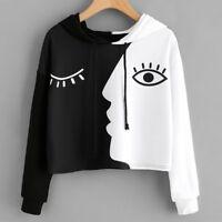Womens Hoodies Sweatshirt Hooded Sweater Tops Crop Patchwork Jumper Pullover AB