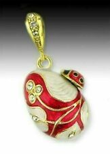 Egg Pendant Sterling Silver 925 Gold Ladybug AUTHENTIC RUSSIAN
