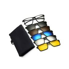 Glasses Frames + 5 PACK Magnetic Clip-on Sunglasses Driving Mens Womens Rx L38