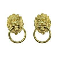 2x Lion Head Shape Pull Handle Door Cabinet Drawer Knob Furniture Decor Gold