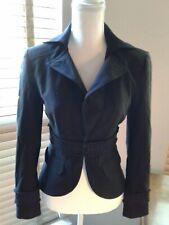 BEBE Black Ribbed Fringe Waist Blazer Jacket Size 4  P10412