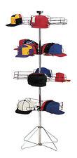 Cap Baseball Rack Floor 4 Tier Rotating Chrome Black Display 96 Hats Caps Hat