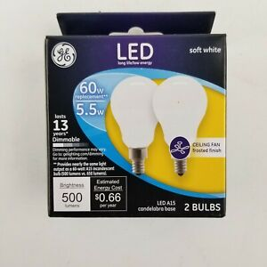 GE 2 Pk A15 60w Soft White Dim Ceiling Fan Frosted Candleabra Base Bulb 24949