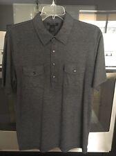 EXPRESS Mens Polo Shirt Golf Medium Short Sleeve Dual Pocket Polyester Grey